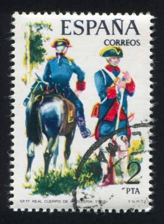 SPAIN - CIRCA 1975: stamp printed by Spain, shows rider, Royal Artillery, circa 1975. Stock Photo - 15508974