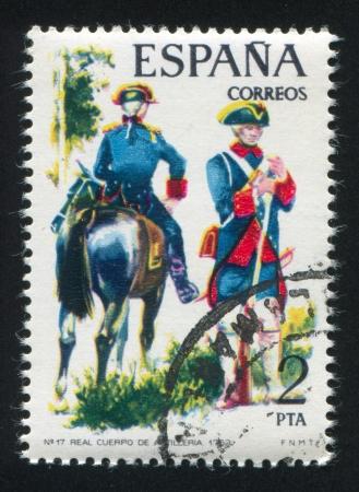 SPAIN - CIRCA 1975: stamp printed by Spain, shows rider, Royal Artillery, circa 1975. Stock Photo - 15508974