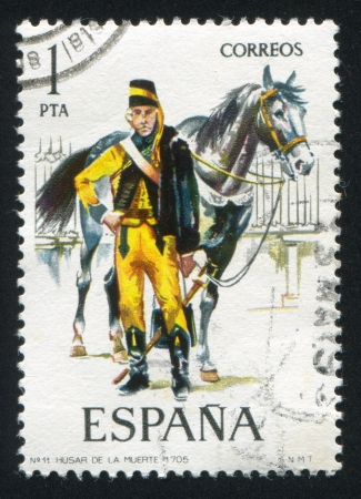 SPAIN - CIRCA 1974: stamp printed by Spain, shows rider, Hussar and horse, circa 1974. Stock Photo - 15508970