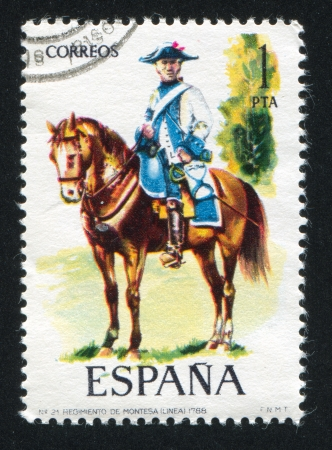 cavalry: SPAIN - CIRCA 1975: stamp printed by Spain, shows rider, Cavalry officer, circa 1975. Editorial