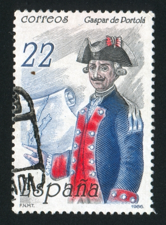 caspar: SPAIN - CIRCA 1986: stamp printed by Spain, shows Caspar de Portola y Rovira Pioneer of California, circa 1986.