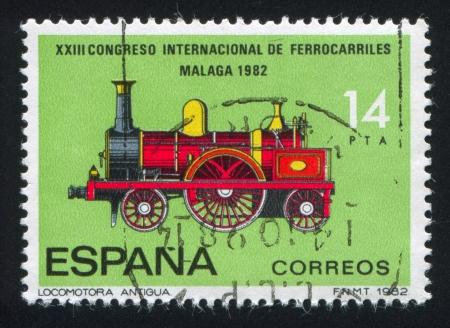 locomotora: ESPA�A - CIRCA 1982: sello impreso por Espa�a, muestra la locomotora, alrededor de 1982 Editorial