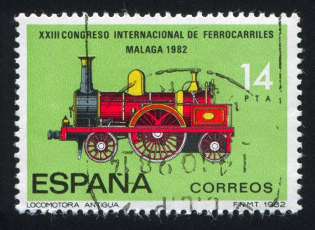 SPAIN - CIRCA 1982: stamp printed by Spain, shows Locomotive, circa 1982