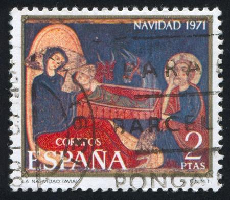 retablo: ESPA�A - CIRCA 1971: sello impreso por Espa�a, muestra Retablo de Navidad, alrededor del a�o 1971