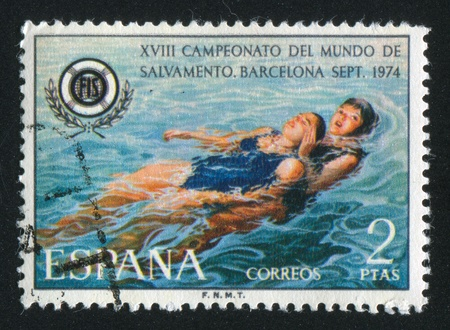 SPAIN - CIRCA 1974: stamp printed by Spain, shows Lifesaving on Water, circa 1974 Editorial