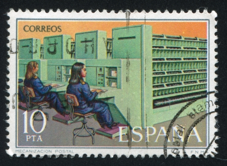 mechanization: SPAIN - CIRCA 1976: stamp printed by Spain, shows mechanization postal, circa 1976