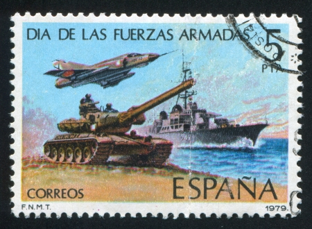 destroyer: SPAIN - CIRCA 1979: stamp printed by Spain, shows Tank, Jet and Destroyer, circa 1979 Editorial