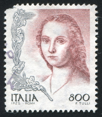 ITALY - CIRCA 1998: stamp printed by Italy, shows Lady with the unicorn by Raphael, circa 1998