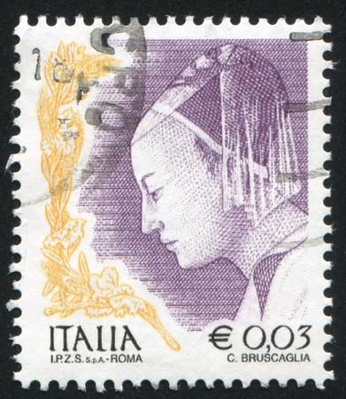 king solomon: ITALY - CIRCA 2002: stamp printed by Italy, shows Queen of Sheba from The Meeting of King Solomon and the Queen of Sheba by Piero della Francesa, circa 2002