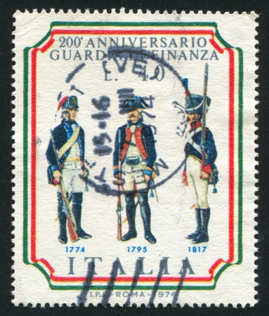 peruke: ITALY - CIRCA 1974: stamp printed by Italy, shows Customs frontier guards, circa 1974