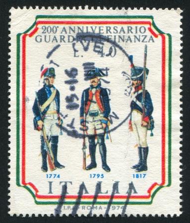 bayonet: ITALY - CIRCA 1974: stamp printed by Italy, shows Customs frontier guards, circa 1974