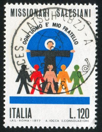 bosco: ITALY - CIRCA 1977: stamp printed by Italy, shows People of the World united as brothers by Saint John Bosco, circa 1977 Editorial