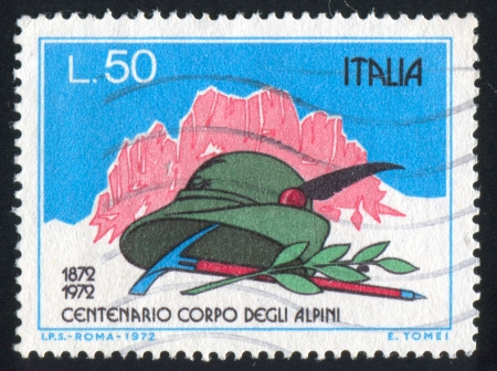 ITALY-CIRCA 1972: stamp printed by Italy, shows Mountains, Alpinists hat, pick and laurel, circa 1972