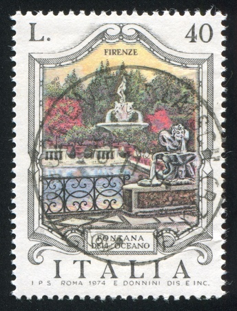 ITALY - CIRCA 1974: stamp printed by Italy, shows Oceanus fountain in Florence, circa 1974