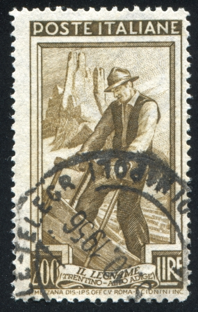 ITALY - CIRCA 1950: stamp printed by Italy, shows Woodcutter, circa 1950 Stock Photo - 15619490