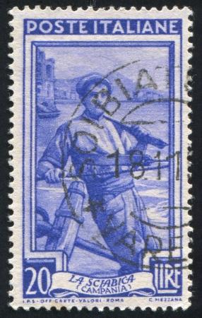 fishman: ITALY - CIRCA 1950: stamp printed by Italy, shows Fisherman, circa 1950