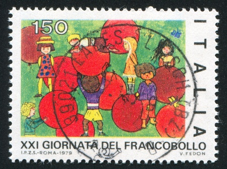 ITALY - CIRCA 1979: stamp printed by Italy, shows Children and red balloons by children drawing, circa 1979
