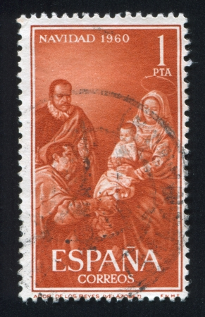velazquez: SPAIN - CIRCA 1960: stamp printed by Spain, shows Adoration by Velazquez, circa 1960