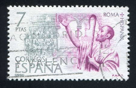 preaching: SPAIN - CIRCA 1974: stamp printed by Spain, shows Bishop Ossius of Cordoba preaching, circa 1974