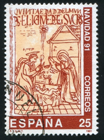 SPAIN - CIRCA 1991: stamp printed by Spain, shows Christmas, circa 1991