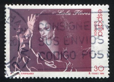 SPAIN - CIRCA 1996: stamp printed by Spain, shows Lola Flores, movie star, circa 1996