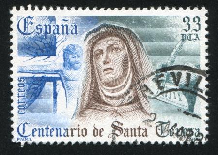 carmelite nun: SPAIN - CIRCA 1982: stamp printed by Spain, shows St. Teresa of Avila (1515-1582), circa 1982