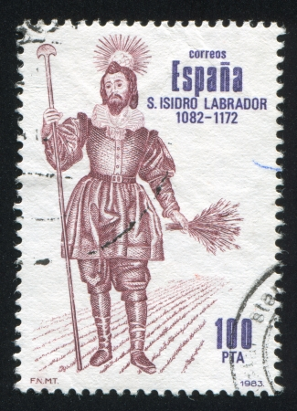 miraculous: SPAIN - CIRCA 1983: stamp printed by Spain, shows St. Isidro Labrador (1082-1170), patron saint of Madrid, circa 1983