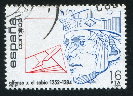 SPAIN - CIRCA 1984: stamp printed by Spain, shows King Alfonso X (1252-1284), circa 1984 Stock Photo - 15619393