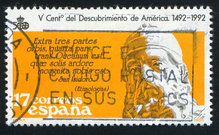 confessor: SPAIN - CIRCA 1986: stamp printed by Spain, shows San Isidoro, text from Etimologias, circa 1986 Editorial