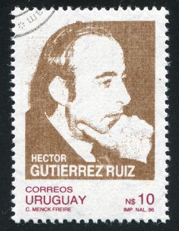 ruiz: URUGUAY - CIRCA 1987: stamp printed by Uruguay, shows Hector Gutierrez Ruiz, Politician, circa 1987