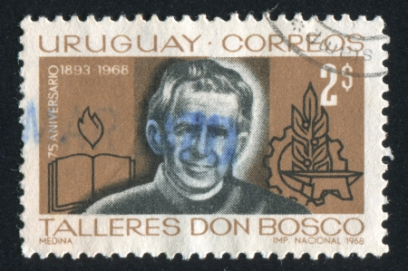 bosco: URUGUAY - CIRCA 1968: stamp printed by Uruguay, shows St. John Bosco, Symbols of Education and Industry, circa 1968