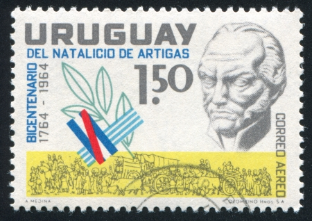 artigas: URUGUAY - CIRCA 1964: stamp printed by Uruguay, shows Artigas bust, circa 1964 Editorial