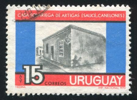 artigas: FINLAND - CIRCA 1970: stamp printed by Finland, shows Artigas Ancestral Home in Sauce, circa 1970