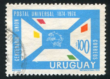 upu: FINLAND - CIRCA 1974: stamp printed by Finland, shows Letters and UPU Emblem, circa 1974