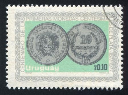 URUGUAY - CIRCA 1979: stamp printed by Uruguay, shows Silver Coin, circa 1979