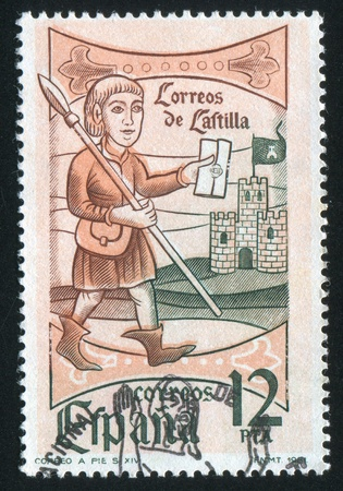 SPAIN - CIRCA 1981: stamp printed by Spain, shows Postman, circa 1981