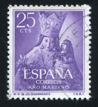 veneration: SPAIN - CIRCA 1954: stamp printed by Spain, shows Maria, circa 1954