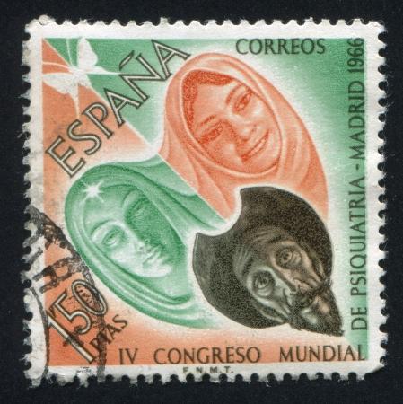don quichotte: ESPAGNE - CIRCA 1966: timbre imprim� par l'Espagne, montre Don Quichotte, Dulcin�e et Aldonza, circa 1966. �ditoriale
