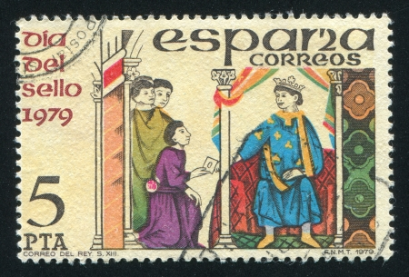domestics: SPAIN - CIRCA 1979: stamp printed by Spain, shows Messenger handing letter to King, circa 1979