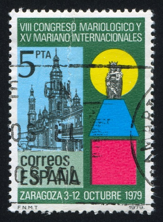 catholicity: SPAIN - CIRCA 1979: stamp printed by Spain, shows Zaragoza Cathedral, Mother and Child statue, circa 1979