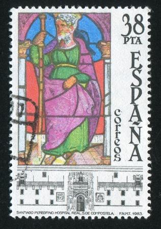 catholicity: SPAIN - CIRCA 1983: stamp printed by Spain, shows St. James, Hospital Real, Santiago de Compostela, circa 1983 Editorial
