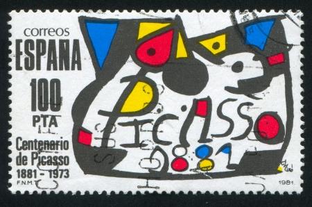 printmaker: SPAIN - CIRCA 1981: stamp printed by Spain, shows Picasso's Birth Centenary Emblem, circa 1981