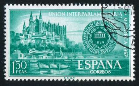 SPAIN - CIRCA 1967: stamp printed by Spain, shows Palma Cathedral and Conference Emblem, circa 1967 Stock Photo - 15621375