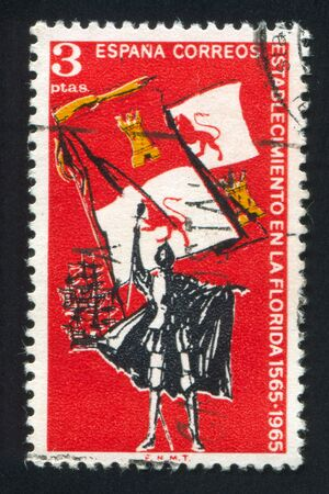 conquistador: SPAIN - CIRCA 1965: stamp printed by Spain, shows Explorer, Royal Flag of Spain and Ships, circa 1965