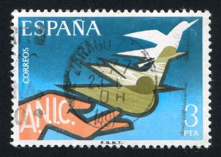 liberate: SPAIN - CIRCA 1976: stamp printed by Spain, shows Hand Releasing Doves, circa 1976