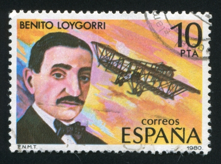 frock coat: SPAIN - CIRCA 1980: stamp printed by Spain, shows Benito Loygorri and Airplane, circa 1980