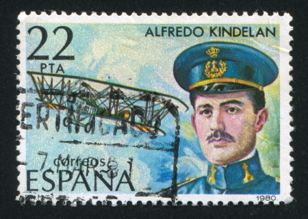 SPAIN - CIRCA 1980: stamp printed by Spain, shows Alfredo Kindelan and Airplane, circa 1980