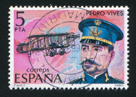 SPAIN - CIRCA 1980: stamp printed by Spain, shows Pedro Vives and Airplane, circa 1980