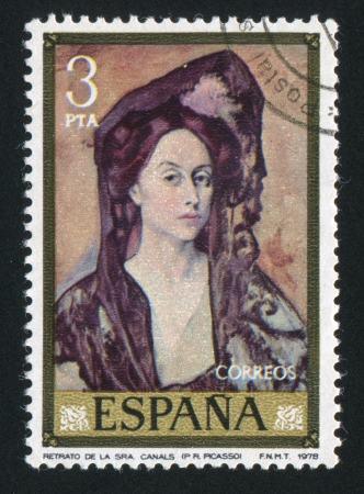 pablo picasso: SPAIN - CIRCA 1978: stamp printed by Spain, shows Portrait of Lady Canals by Pablo Picasso, circa 1978
