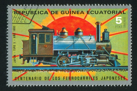 EQUATORIAL GUINEA - CIRCA 1983:  stamp printed by Equatorial Guinea, shows locomotive, circa 1983. Stock Photo - 15671287